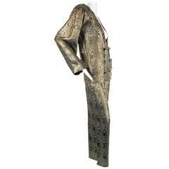 1980 Geoffrey Beene Black/Gold Ensemble Silk Moire Pajama Top & Pant size 6