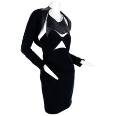 1980 Geoffrey Beene Black Top-Stitched Vinyl Bolero w/ Silk Crepe Halter Dress