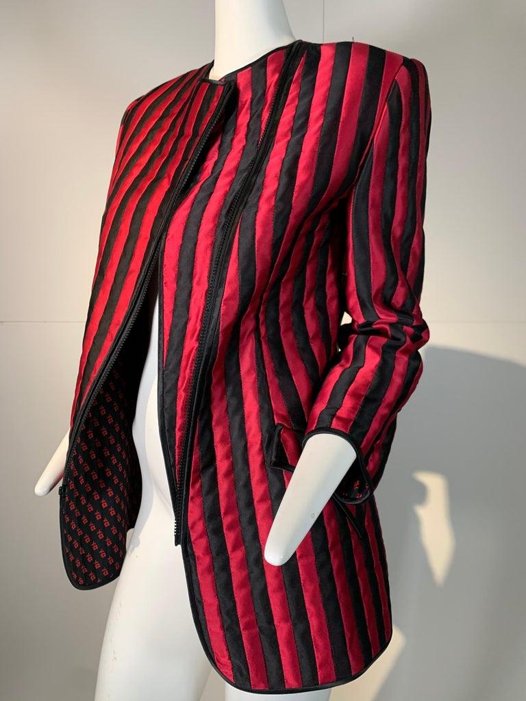 1980 Geoffrey Beene Red & Black Silk Stripe Asymmetrical Zip Smoking Jacket  For Sale 7