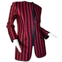 1980 Geoffrey Beene Red & Black Silk Stripe Asymmetrical Zip Smoking Jacket