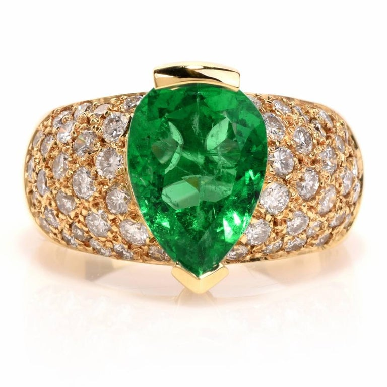 Artisan 1980 GIA Emerald Pave Diamond Yellow Gold Cocktail Ring For Sale