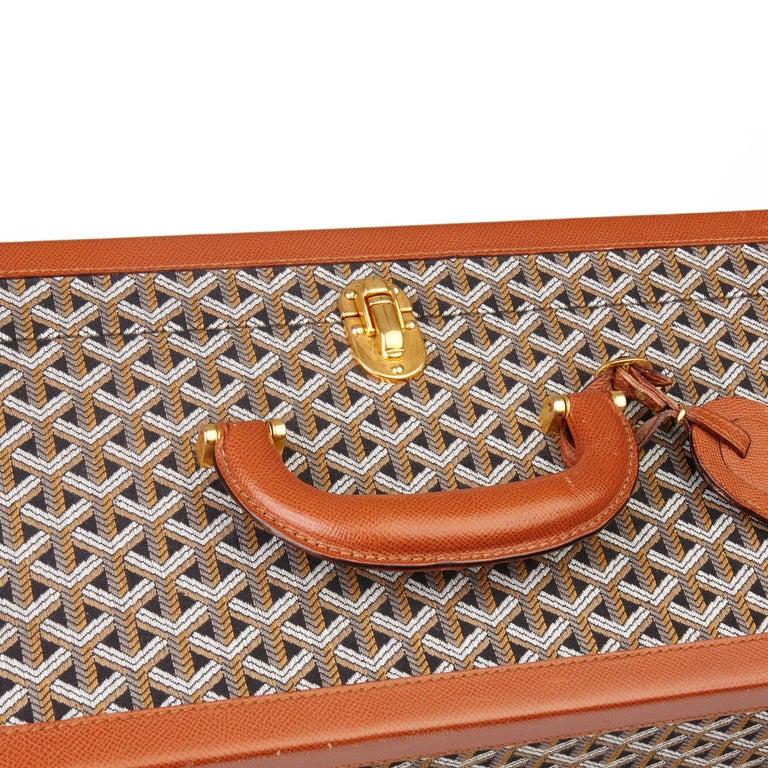 1980 Goyard Black Chevron Canvas & Grained Calfskin Leather Vintage Trunk 80 2