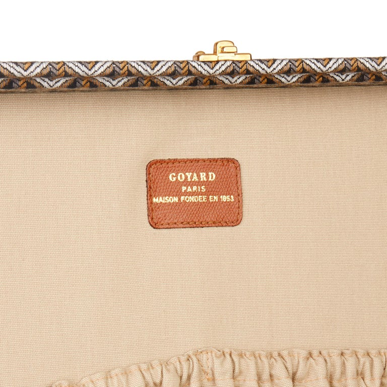 1980 Goyard Black Chevron Canvas & Grained Calfskin Leather Vintage Trunk 80 4