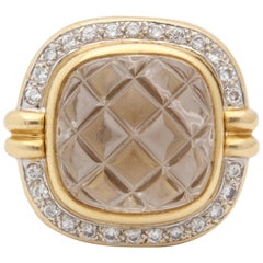 1980 Heavy Quilted Rock Crystal with Diamonds Fantasy Large Gold Cocktail Ring
