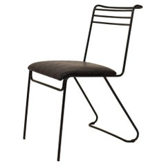 1980 Italian Midcentury / Memphis Black Lacquered Metal Chair with Leather Seat