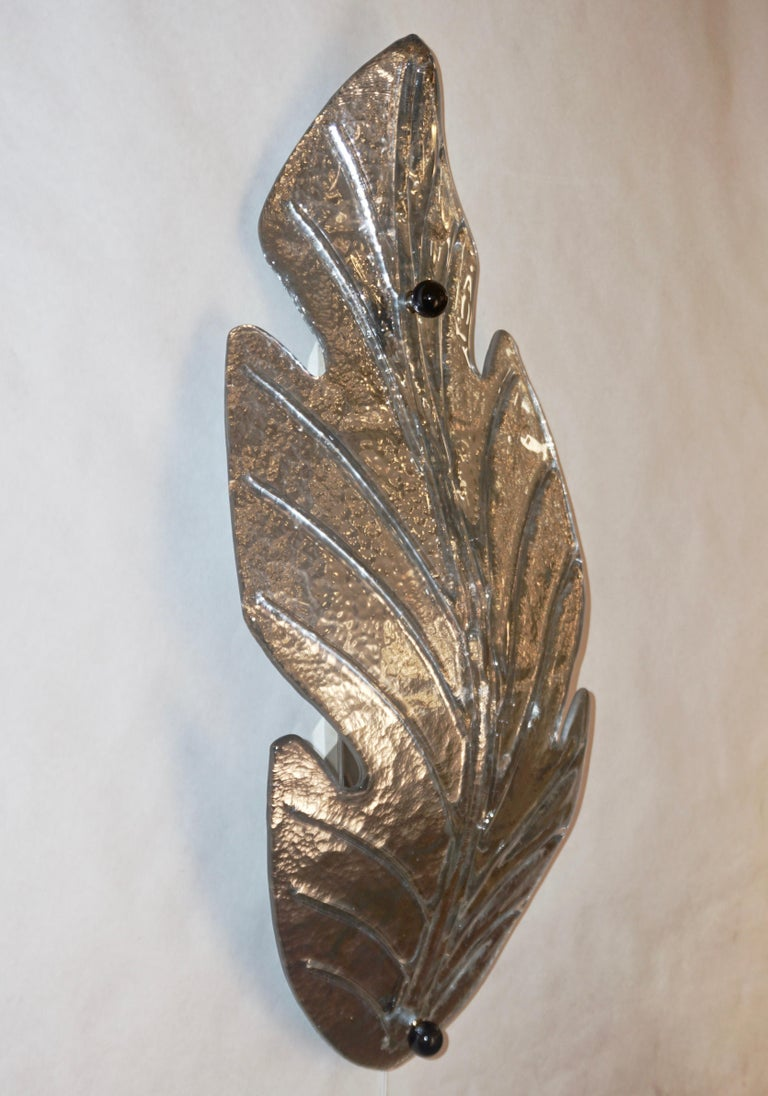 1980 Italian Vintage Nickel Pair of Tall Silver Color Murano Glass Leaf Sconces For Sale 5