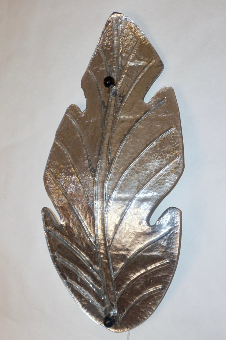 1980 Italian Vintage Nickel Pair of Tall Silver Color Murano Glass Leaf Sconces For Sale 7