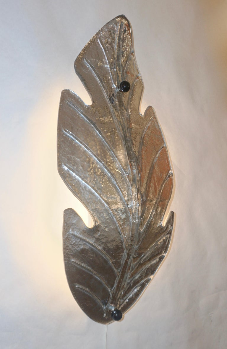 1980 Italian Vintage Nickel Pair of Tall Silver Color Murano Glass Leaf Sconces For Sale 8