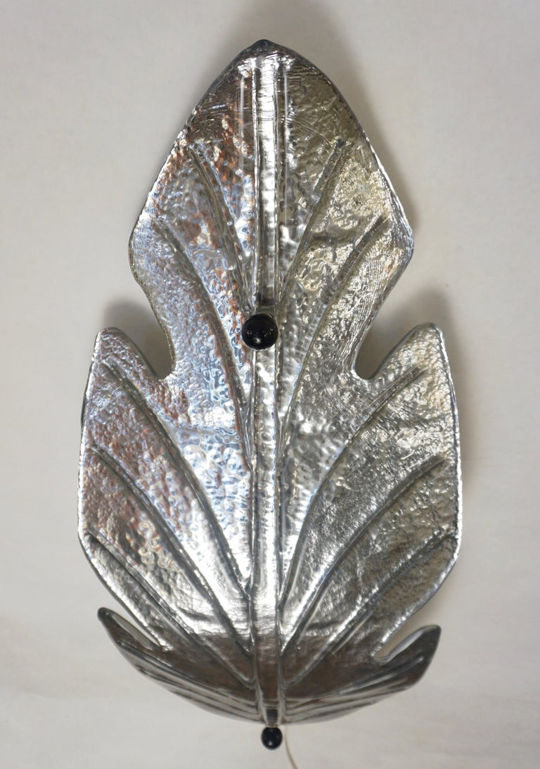 Hand-Crafted 1980 Italian Vintage Nickel Pair of Tall Silver Color Murano Glass Leaf Sconces For Sale