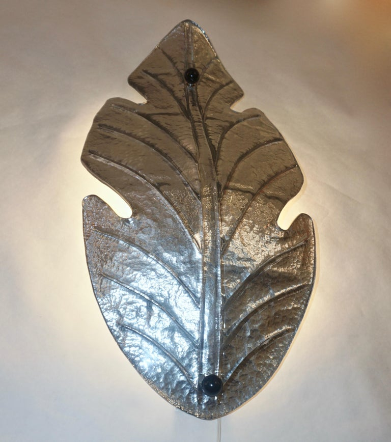 1980 Italian Vintage Nickel Pair of Tall Silver Color Murano Glass Leaf Sconces For Sale 1