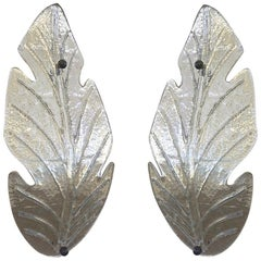 1980 Italian Vintage Nickel Pair of Tall Silver Color Murano Glass Leaf Sconces