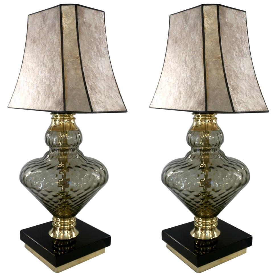 1980 Italian Vintage Pair of Smoked Murano Glass Lamps with Black & Brass Accent