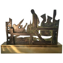 1980 Italy Bronze and Brass Abstract Sculpture by Nevio De Luca
