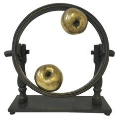 1980 Italy Post Modern Abstract Bronze Sculpture Little Universe on Earth