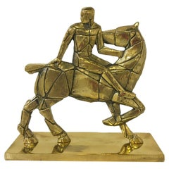 1980 Italy Post Modern Bronze Sculpture Horse and Rider