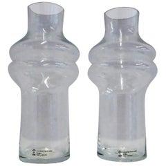 1980 Lisa Larson Skruf Swedish Modern Pair of Shouldered Glass Vases