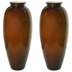 1980 Modern Italian Pair of Golden Brown Murano Glass Vases with White Interiors