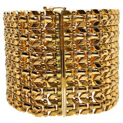 1980 One-of-a-Kind 18 Karat Yellow Gold Mesh Cuff Bracelet