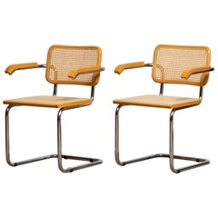 1980, Pair of Marcel Breuer Cane / Chrome and Gold Beech Cesca s64 Chairs, Italy