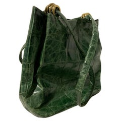 1980 Paola Del Lungo Moss Green Embossed Crocodile Large Tote Bag W/ Gold Rings