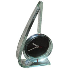1980 Particular Italian Clock Thick Glass Remember Ettore Sottsass Red Color