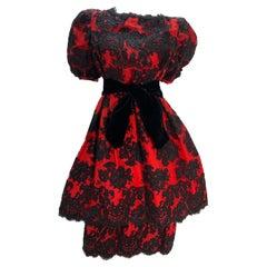 1980 Pauline Trigere Red Silk Taffeta & Black Lace Overlay Cocktail Dress