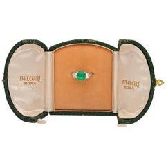 1980 Platinum Emerald Diamond Bulgari Ring