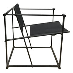 1980, Radboud Van Beekum for Pastoe, FM62 Cube Lounge Chair in Black Linen