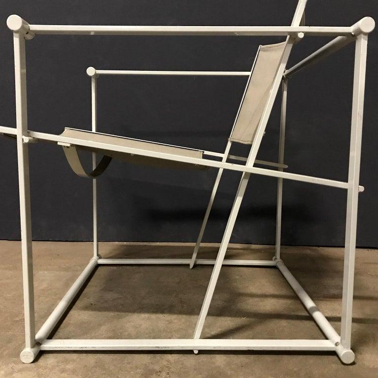 1980, Radboud Van Beekum for Pastoe, FM62 Cube Lounge Chair in Linen For Sale 8