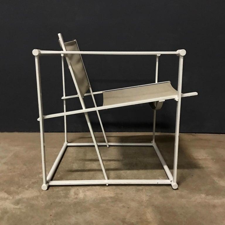 Mid-Century Modern 1980, Radboud Van Beekum for Pastoe, FM62 Cube Lounge Chair in Linen For Sale