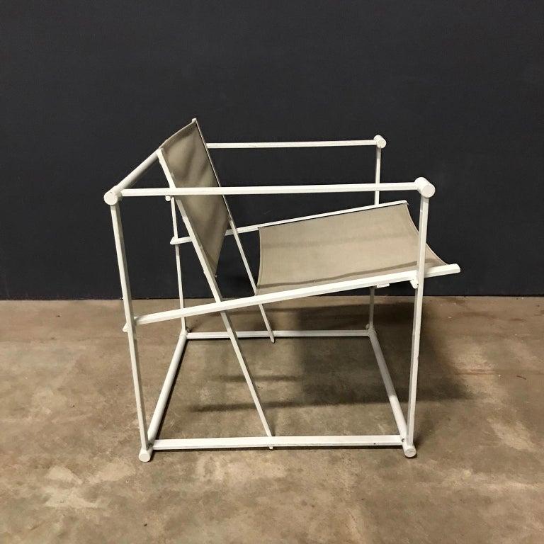 Dutch 1980, Radboud Van Beekum for Pastoe, FM62 Cube Lounge Chair in Linen For Sale