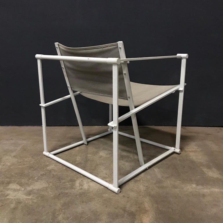 1980, Radboud Van Beekum for Pastoe, FM62 Cube Lounge Chair in Linen In Good Condition For Sale In Amsterdam, North Holland