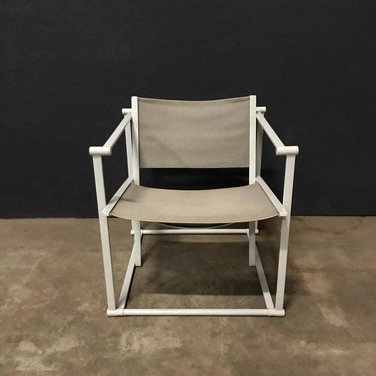 1980, Radboud Van Beekum for Pastoe, FM62 Cube Lounge Chair in Linen For Sale 1