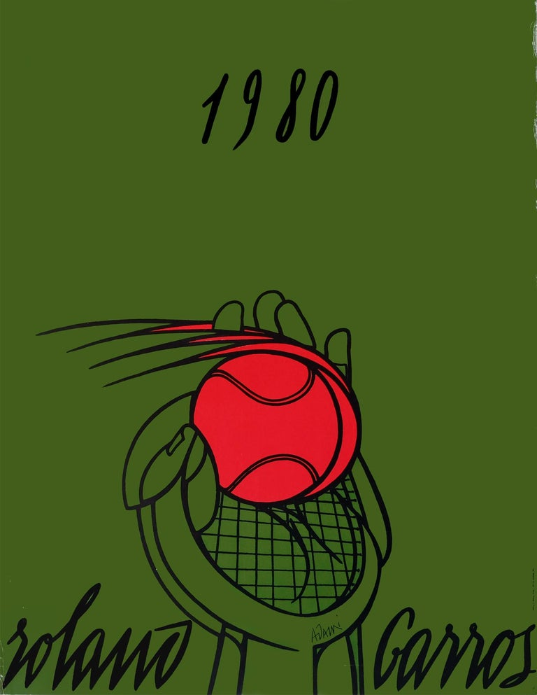 Rare original 1980 green promotional poster for the French Open at Roland Garros.  Freehand illustration design by Valerio Adami.  Rolled.  Measures: L 75cm x W 57cm.