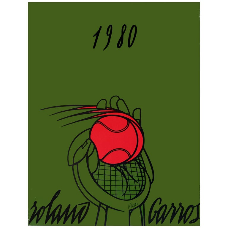 1980 Roland Garros French Open Tennis Poster by Valerio Adami For Sale