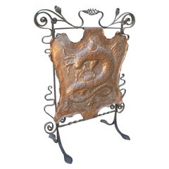 1980s French Iron Fireplace Screen Decorated with Salamanders