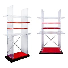 1980s Pair of Bookcases, Cast Iron, Transparent and Red Thick Plexiglas, Italy