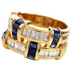 1980 Sapphire Baguette Diamond 18 Karat Gold Woven Wide Band Ring