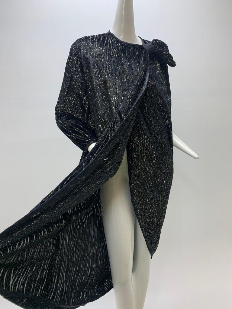 1980 Schiaparelli Black & Gold Woodgrain Velvet Side Tie Opera Coat or Dress For Sale 7