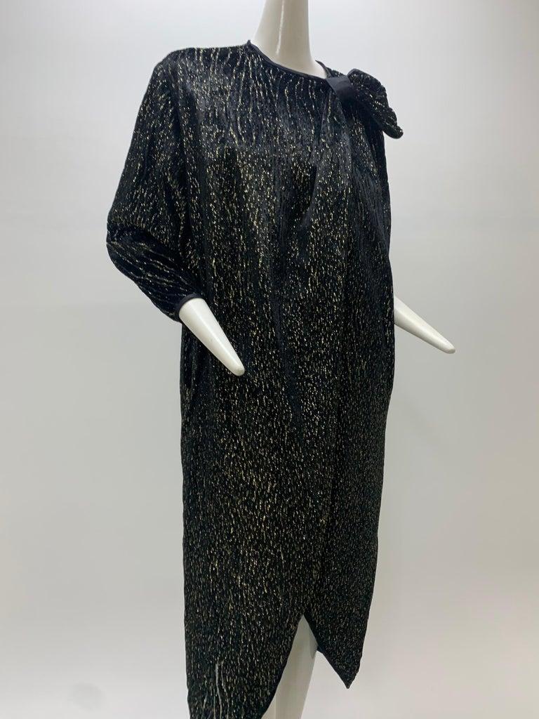 1980 Schiaparelli Black & Gold Woodgrain Velvet Side Tie Opera Coat or Dress For Sale 8