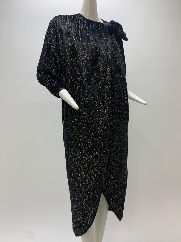 1980 Schiaparelli Black & Gold Woodgrain Velvet Side Tie Opera Coat or Dress For Sale 9