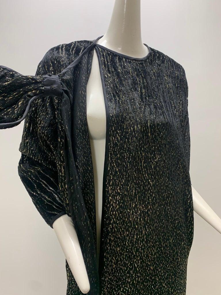 1980 Schiaparelli Black & Gold Woodgrain Velvet Side Tie Opera Coat or Dress For Sale 10