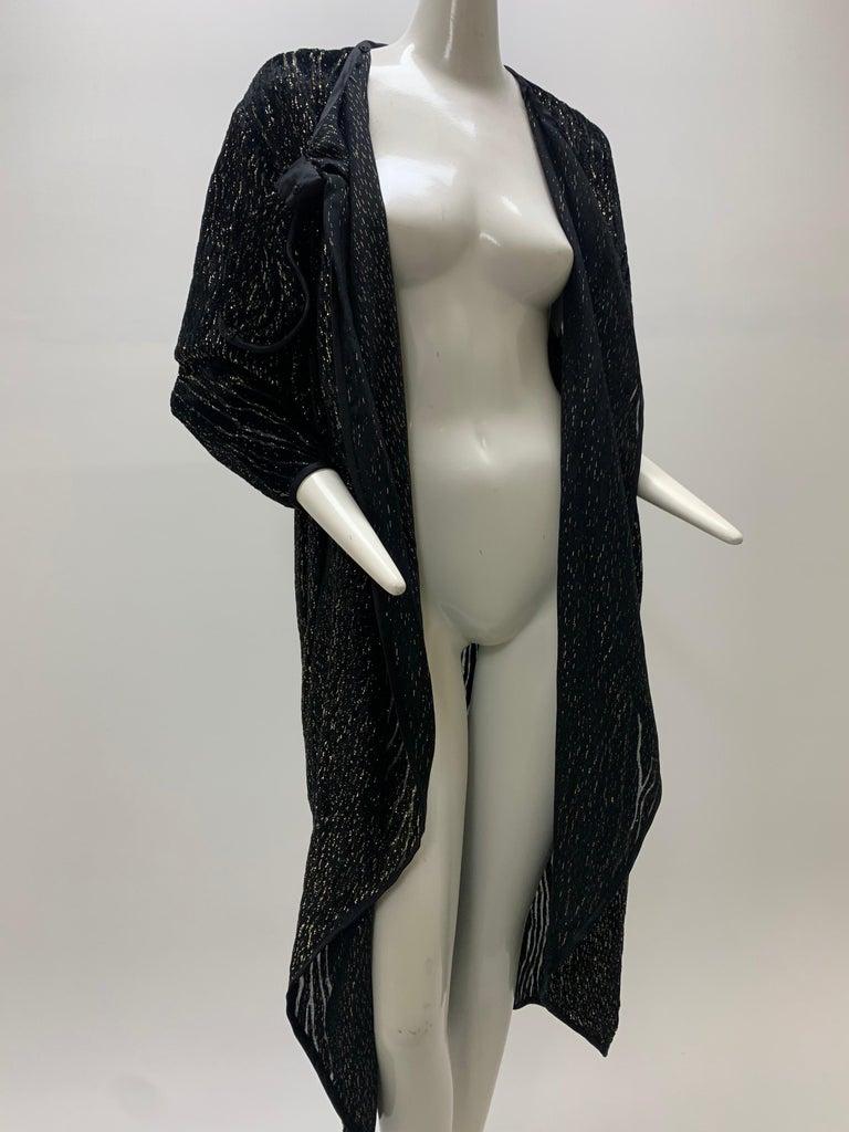 1980 Schiaparelli Black & Gold Woodgrain Velvet Side Tie Opera Coat or Dress For Sale 11