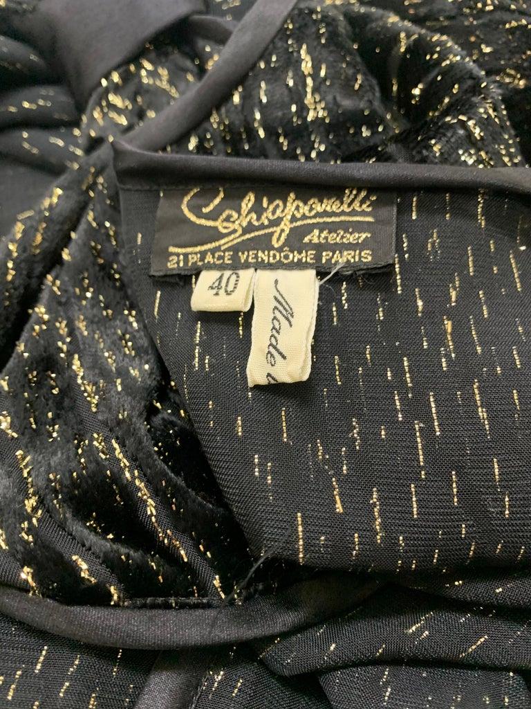 1980 Schiaparelli Black & Gold Woodgrain Velvet Side Tie Opera Coat or Dress For Sale 12