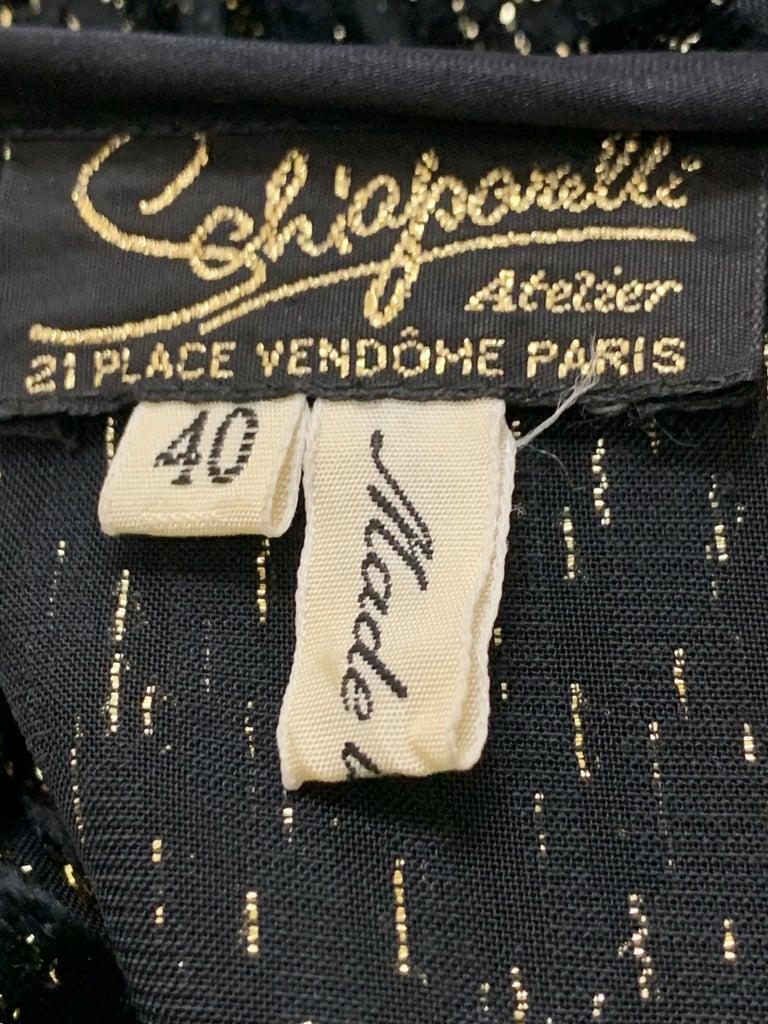 1980 Schiaparelli Black & Gold Woodgrain Velvet Side Tie Opera Coat or Dress For Sale 13