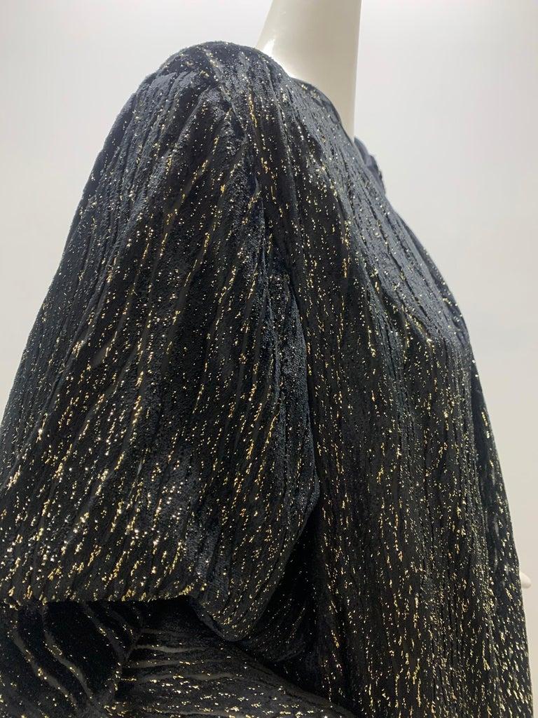1980 Schiaparelli Black & Gold Woodgrain Velvet Side Tie Opera Coat or Dress For Sale 1