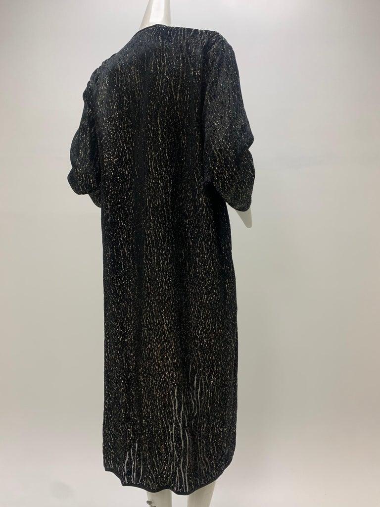 1980 Schiaparelli Black & Gold Woodgrain Velvet Side Tie Opera Coat or Dress For Sale 2
