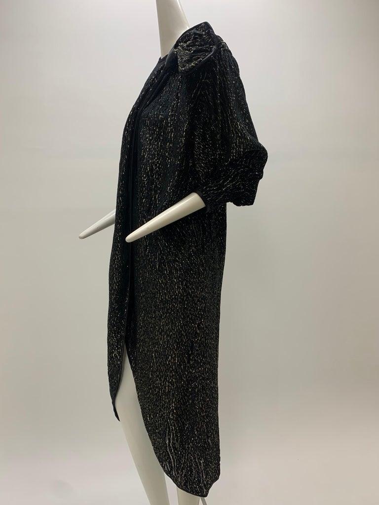 1980 Schiaparelli Black & Gold Woodgrain Velvet Side Tie Opera Coat or Dress For Sale 3