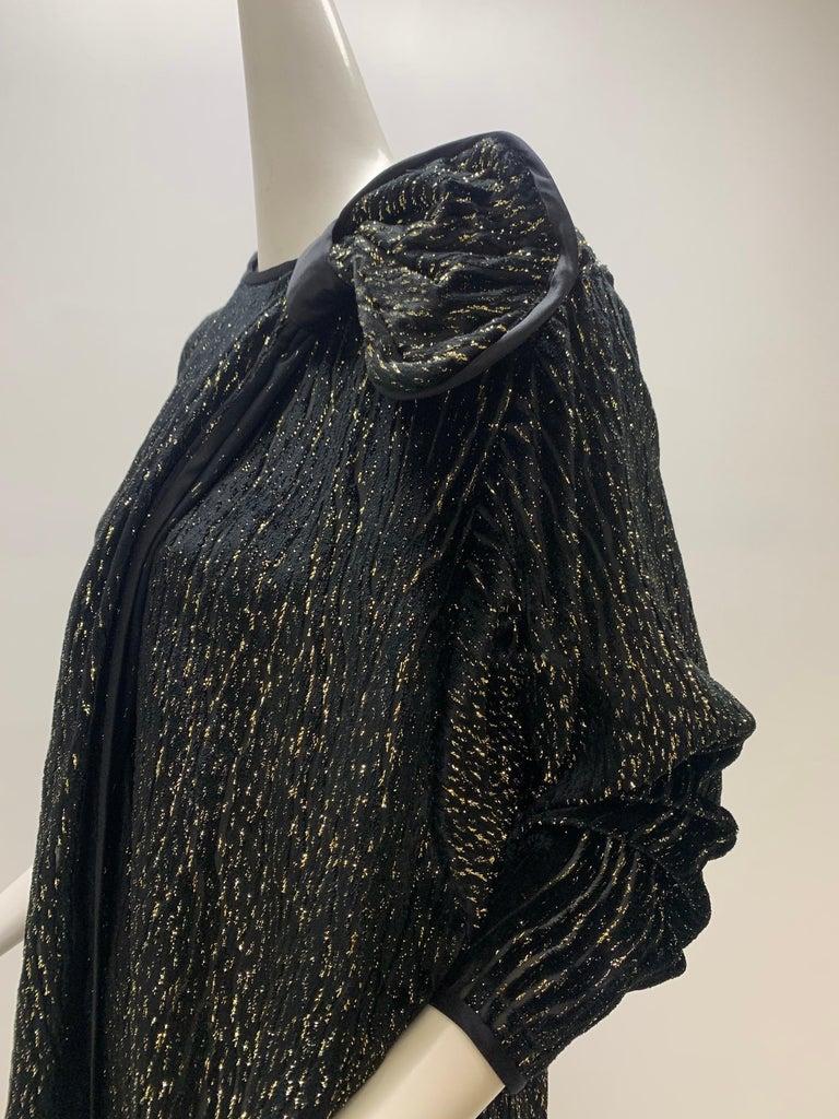 1980 Schiaparelli Black & Gold Woodgrain Velvet Side Tie Opera Coat or Dress For Sale 4
