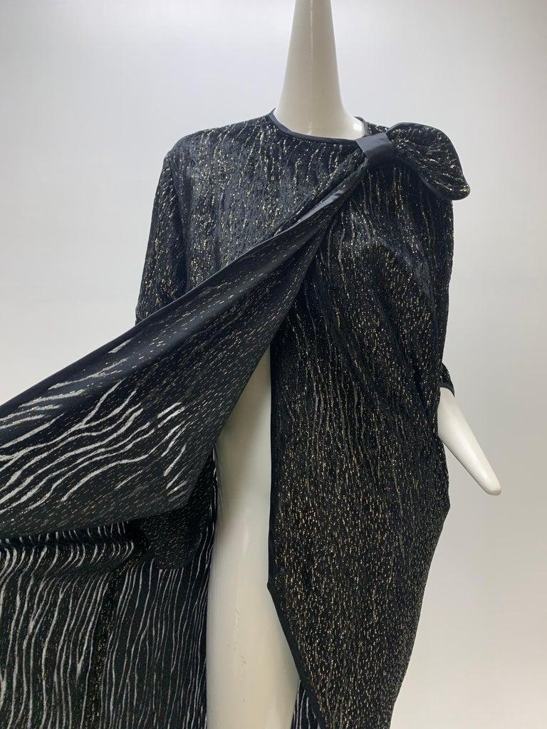 1980 Schiaparelli Black & Gold Woodgrain Velvet Side Tie Opera Coat or Dress For Sale 5